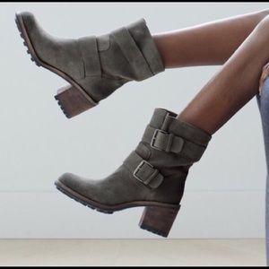 Sam Edelman Troy Moto Boots Gray Suede Buckles Sz9